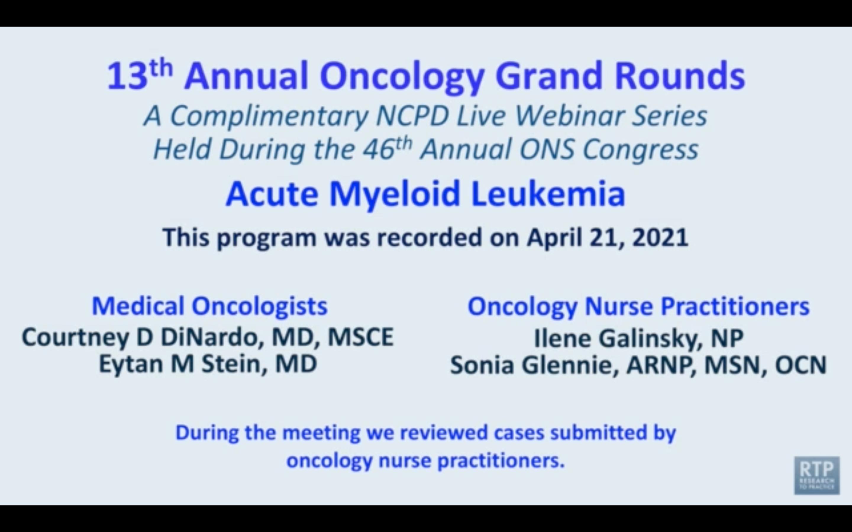 Artwork for Acute Myeloid Leukemia | Oncology Grand Rounds Series: Part 3 — Acute Myeloid Leukemia
