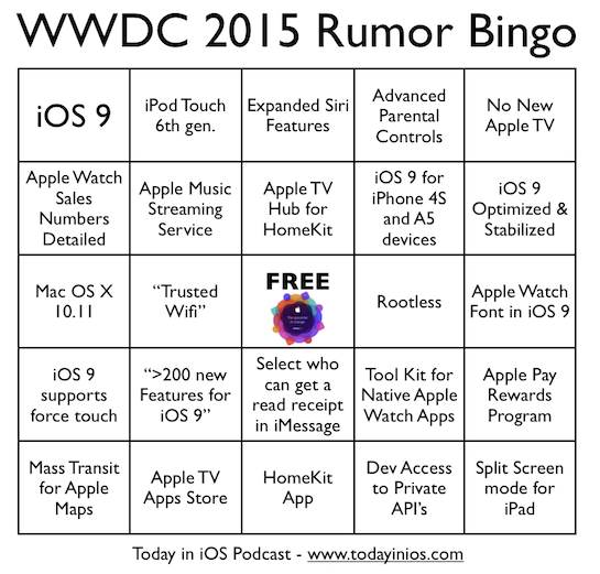 WWDC 2015 - Rumor Bingo Card