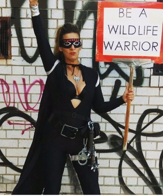 Kerith created the super hero the Wild Life Warrior early in her activist career