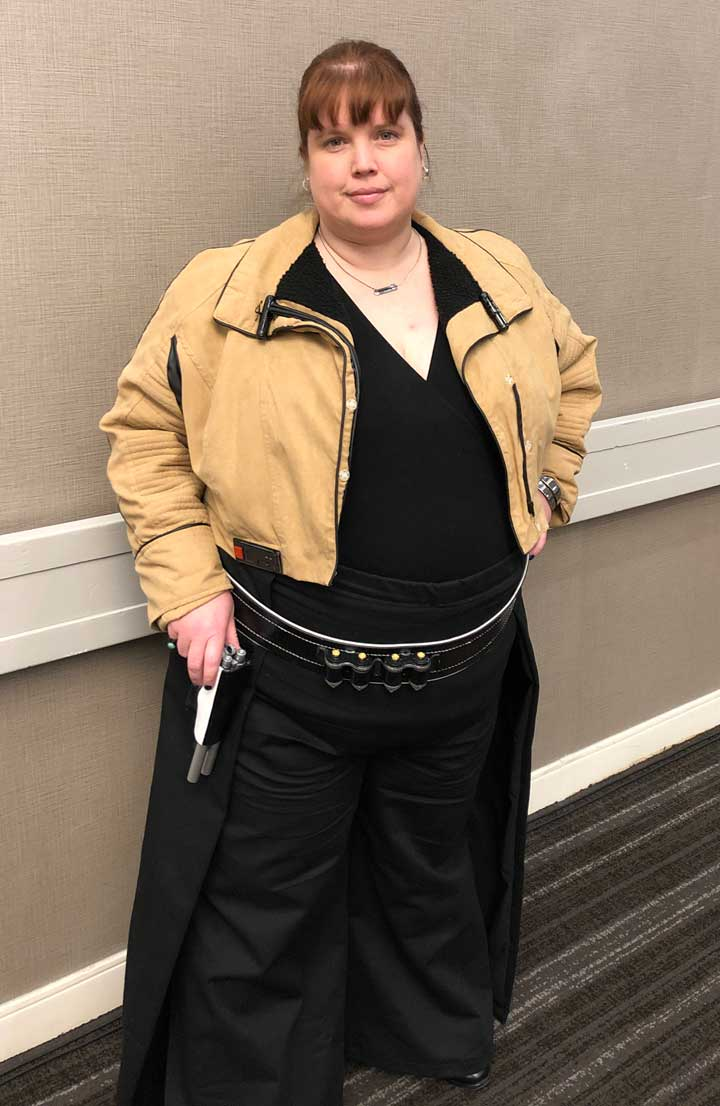 "Stacy Humphreys, cosplaying as the character Qi'ra from ""Solo: A Star Wars Story."""